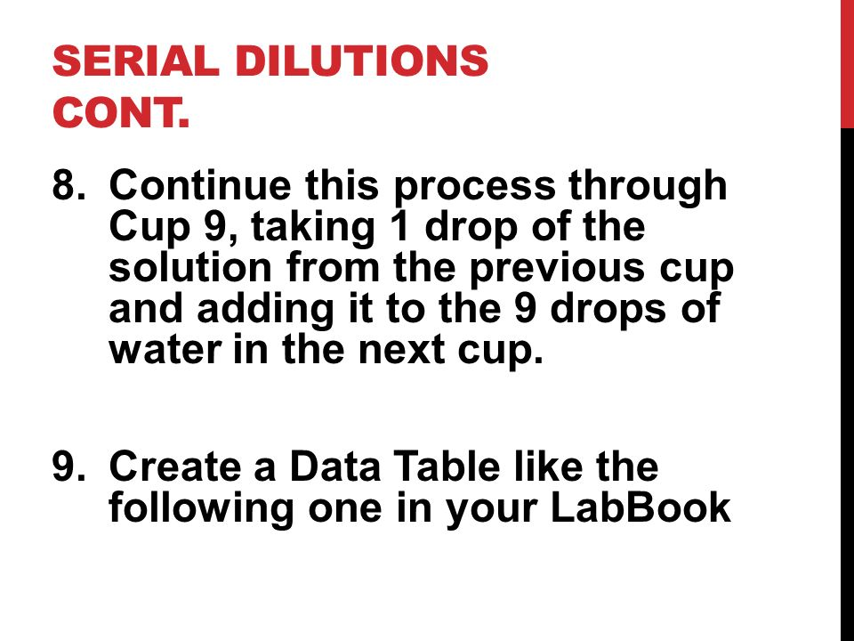 Serial Dilutions cont.