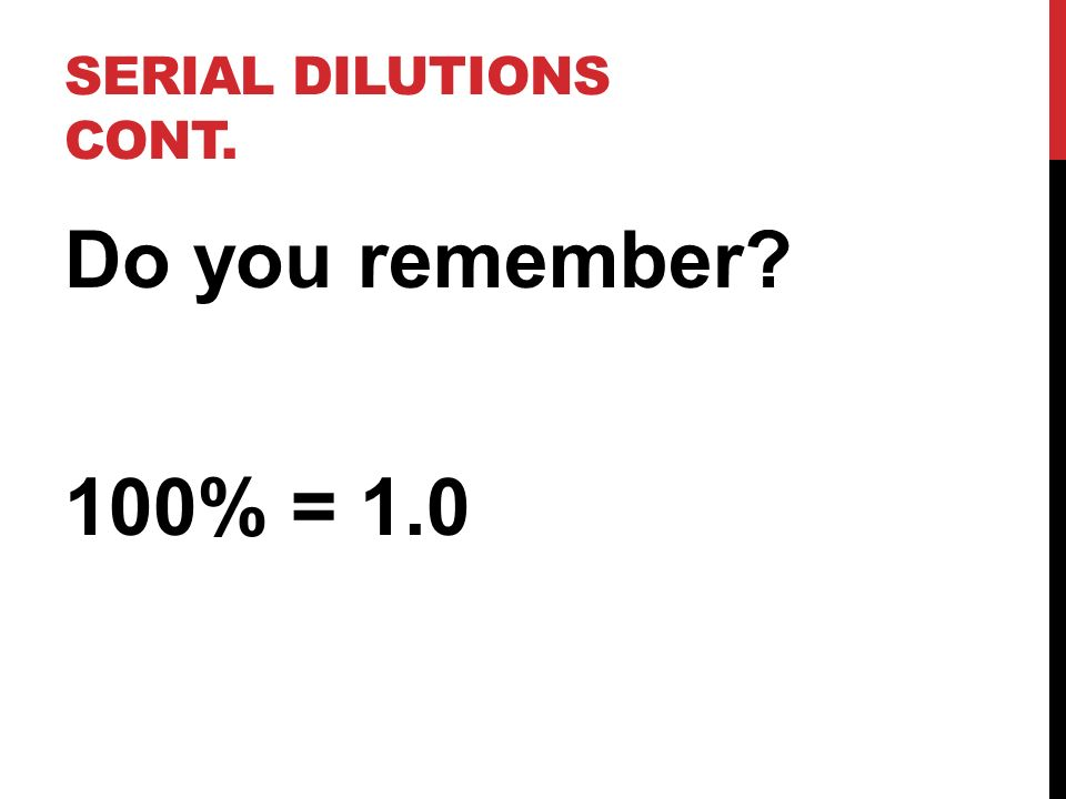 Serial Dilutions cont. Do you remember 100% = 1.0
