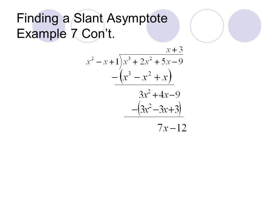 Finding a Slant Asymptote Example 7 Con't.