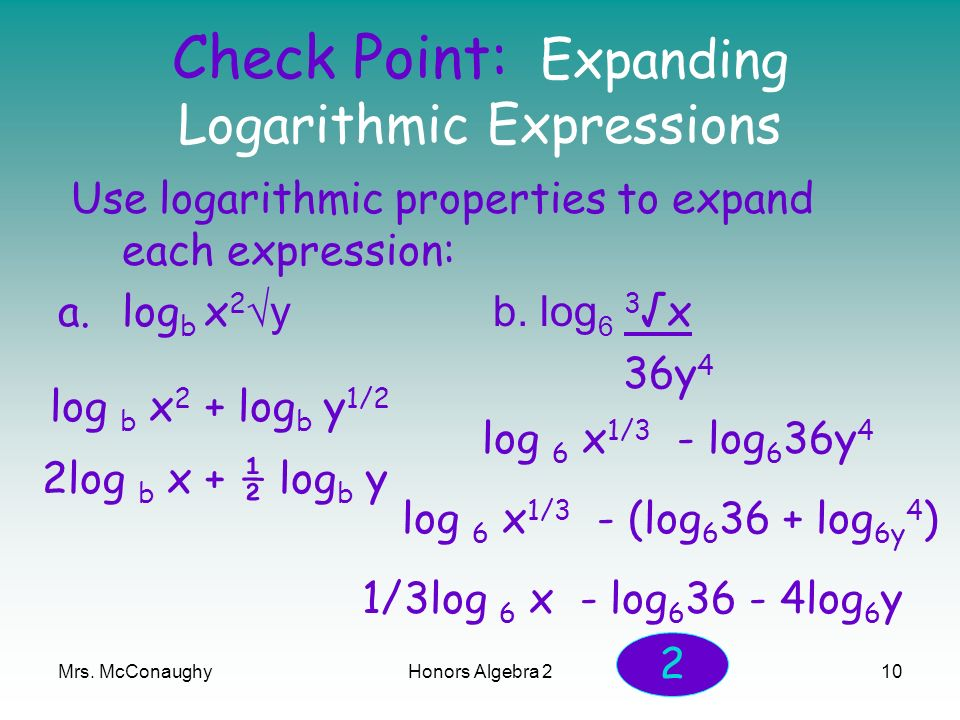 Check Point: Expanding Logarithmic Expressions