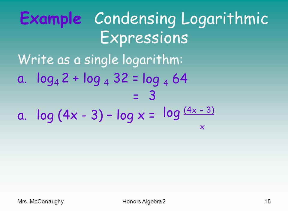 Example Condensing Logarithmic Expressions