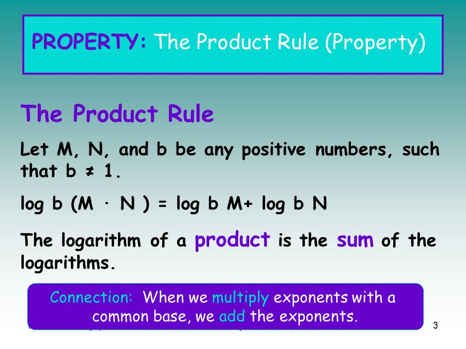 The Product Rule PROPERTY: The Product Rule (Property)