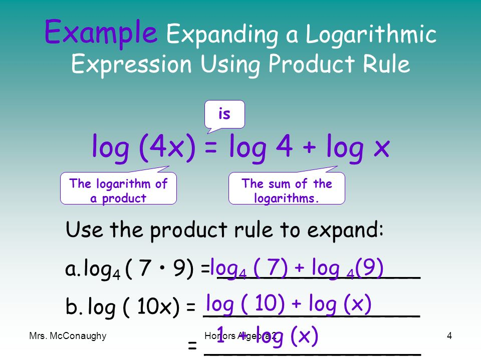 Example Expanding a Logarithmic Expression Using Product Rule