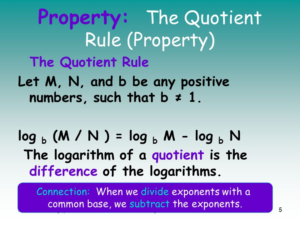 Property: The Quotient Rule (Property)