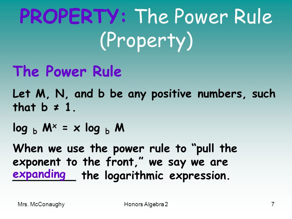 PROPERTY: The Power Rule (Property)