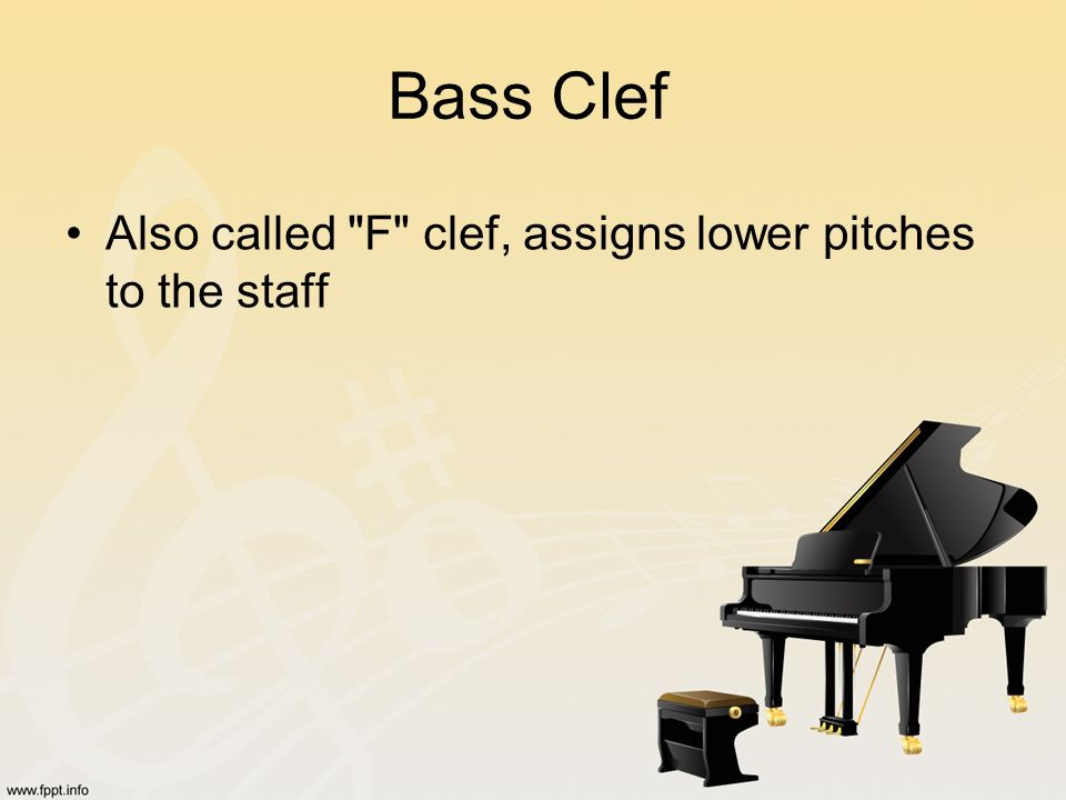 Bass Clef Also called F clef, assigns lower pitches to the staff