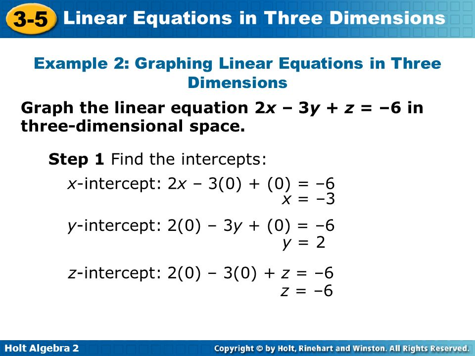 Example 2: Graphing Linear Equations in Three Dimensions