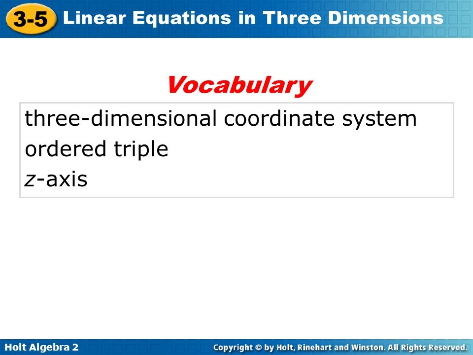 Vocabulary three-dimensional coordinate system ordered triple z-axis