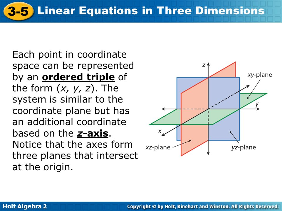 Each point in coordinate space can be represented by an ordered triple of the form (x, y, z).