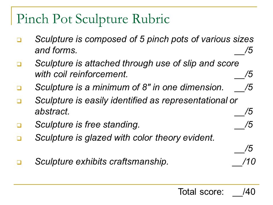 Pinch Pot Sculpture Rubric
