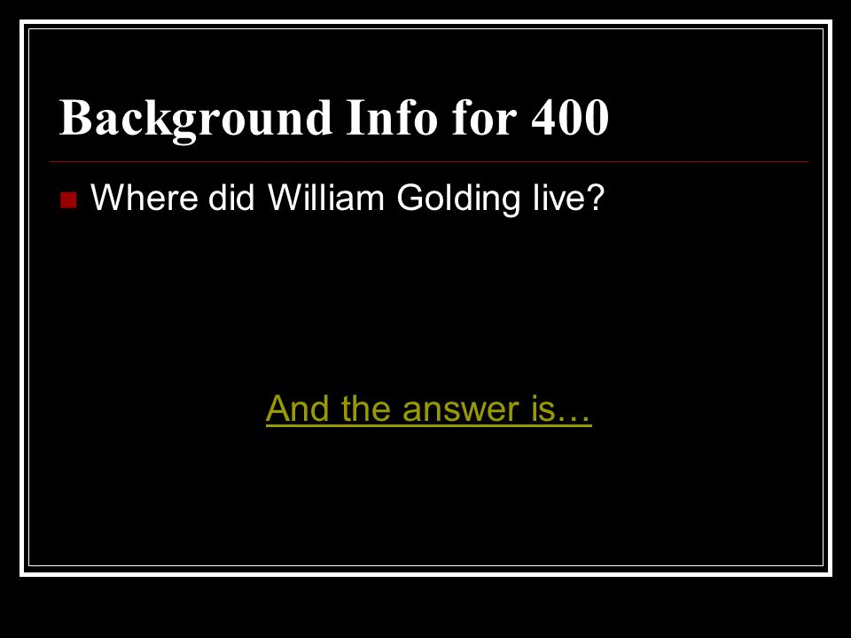Background Info for 400 Where did William Golding live