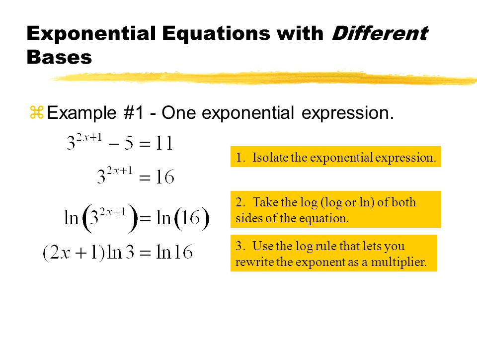 Exponential Equations with Different Bases