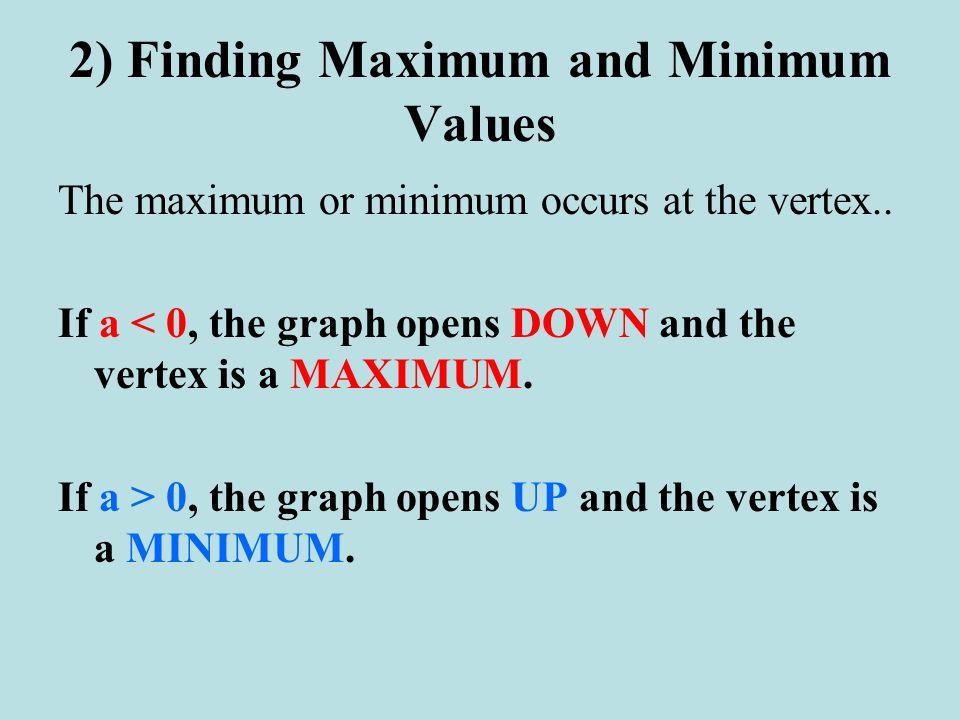 2) Finding Maximum and Minimum Values