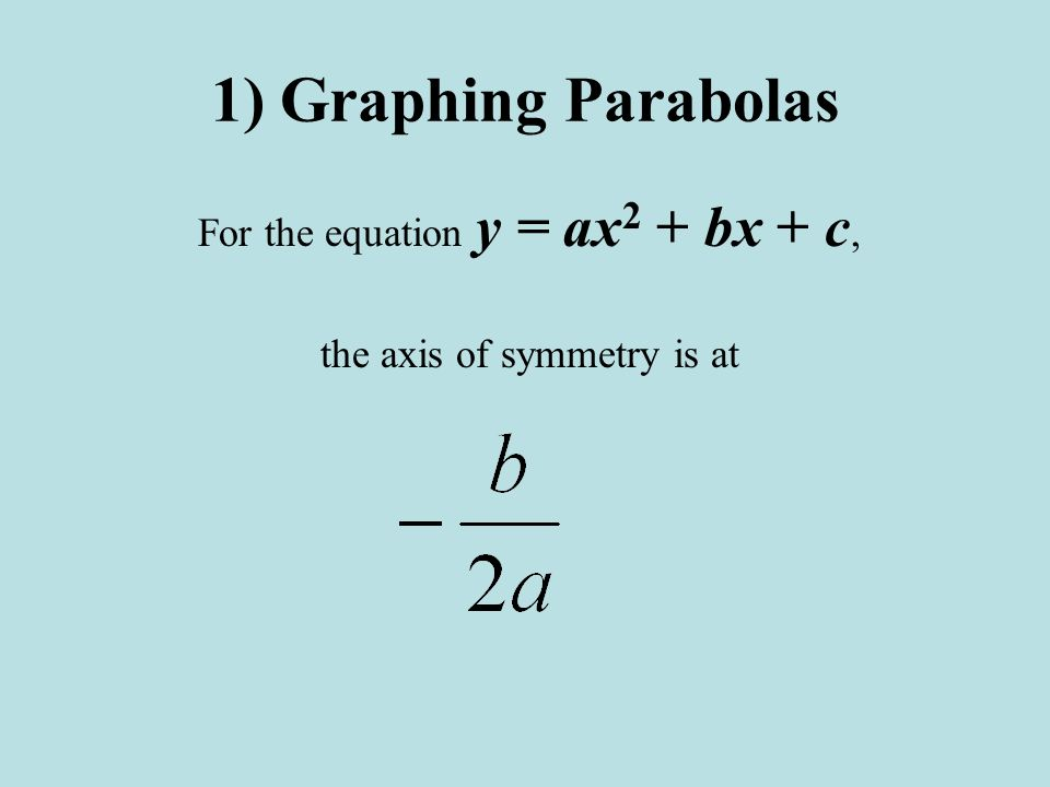 1) Graphing Parabolas For the equation y = ax2 + bx + c,