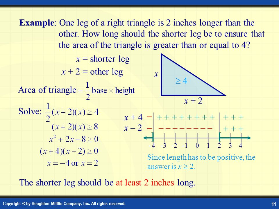 Example: One leg of a right triangle is 2 inches longer than the other