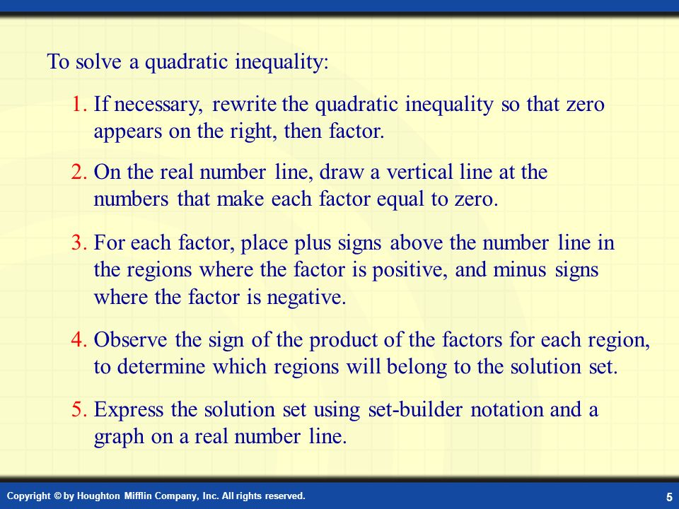 Solving a Quadratic Inequality
