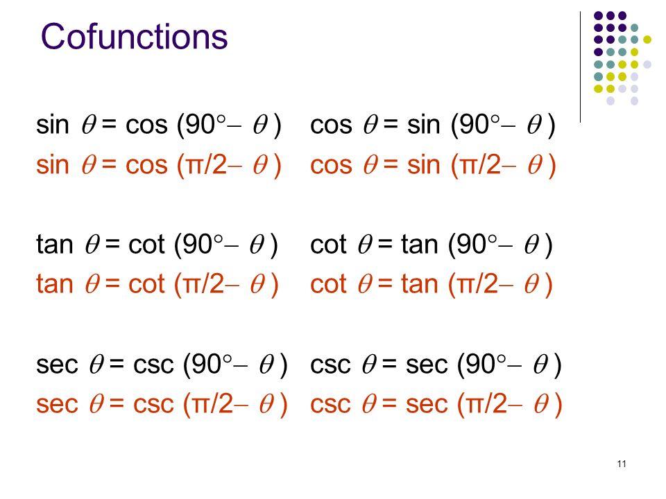 Cofunctions sin  = cos (90  ) cos  = sin (90  )
