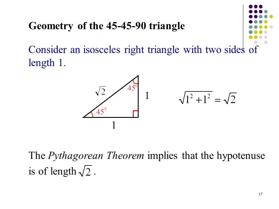 Geometry of the 45-45-90 Triangle