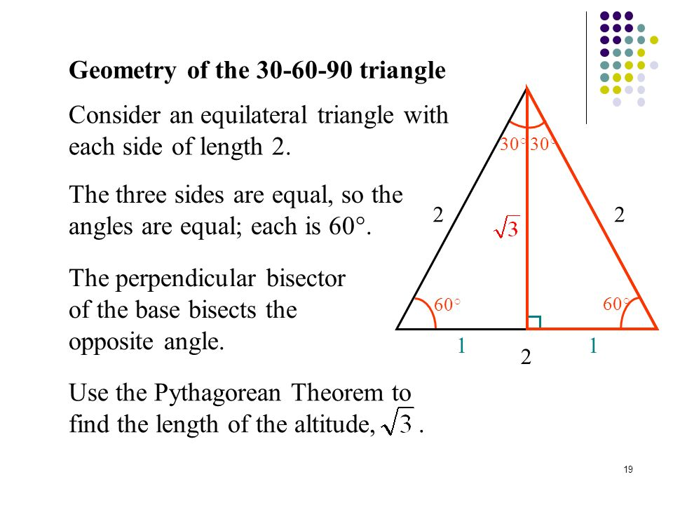 Geometry of the 30-60-90 Triangle