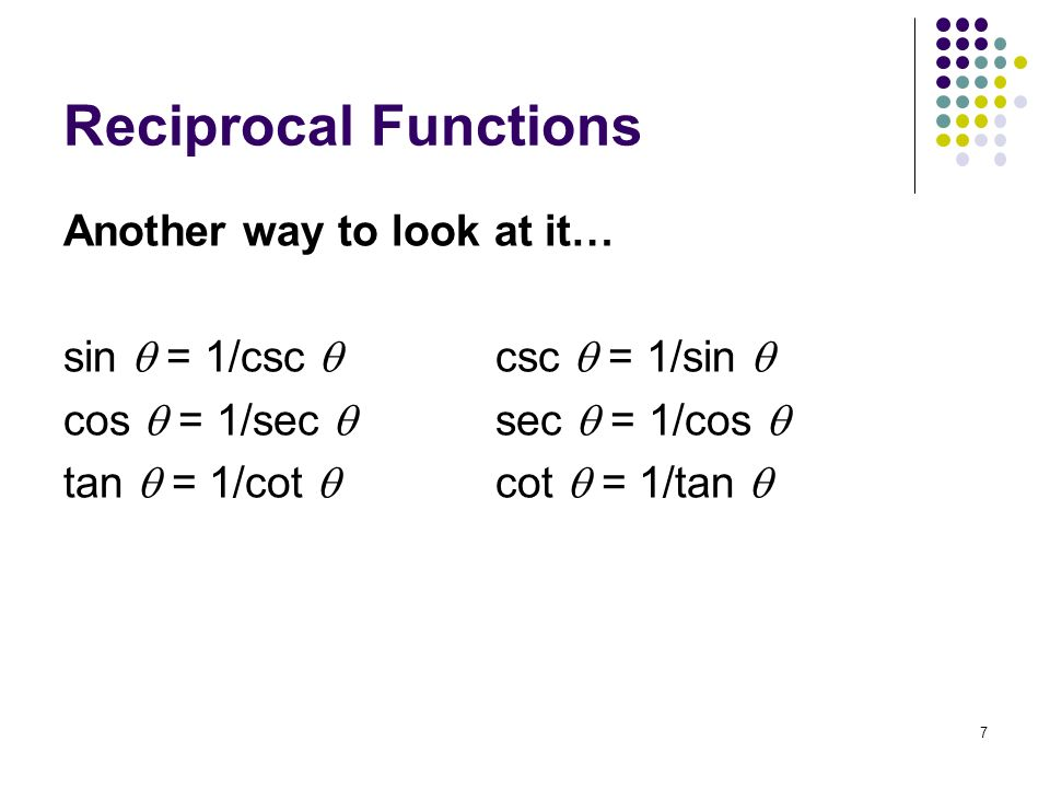 Reciprocal Functions Another way to look at it…