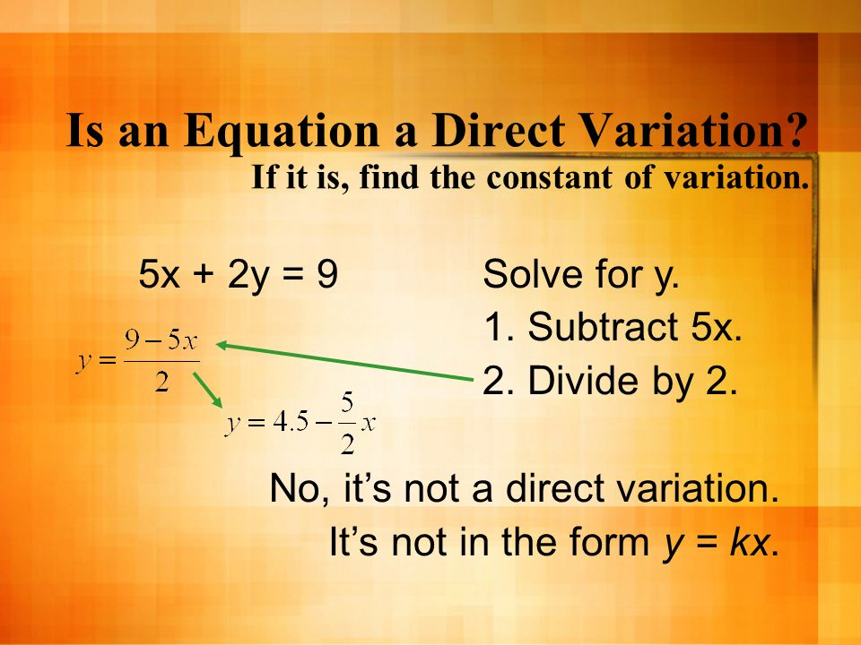 Is an Equation a Direct Variation