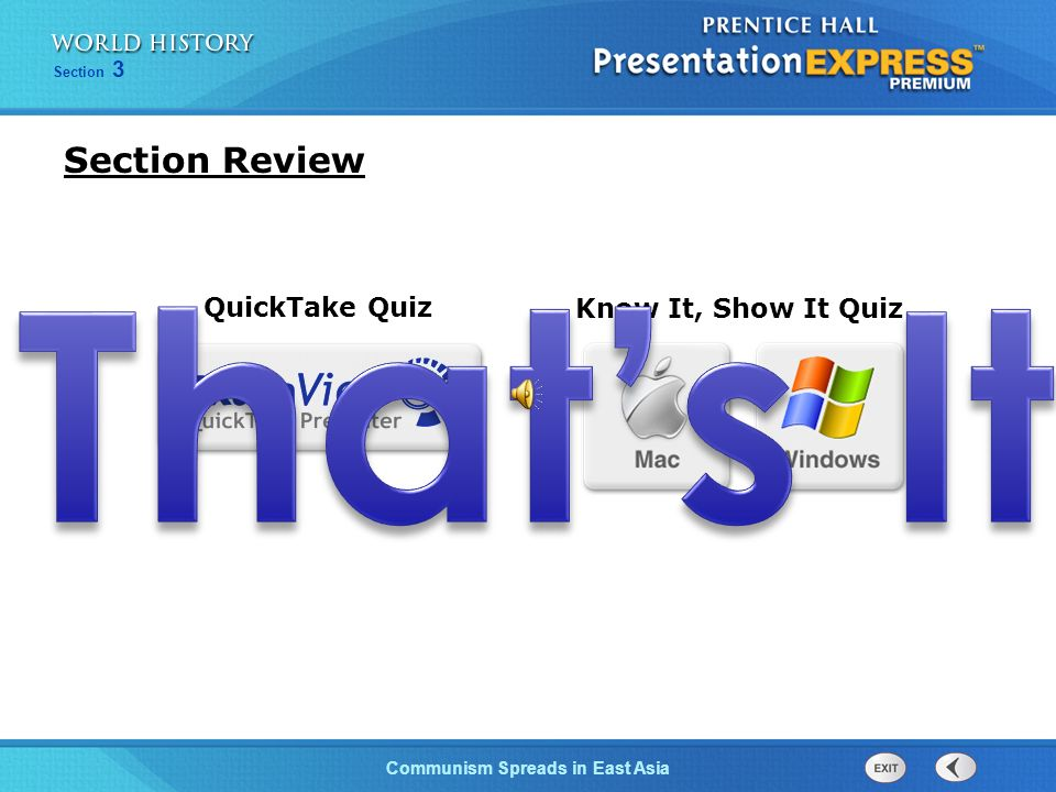 Section Review That's It QuickTake Quiz Know It, Show It Quiz 16