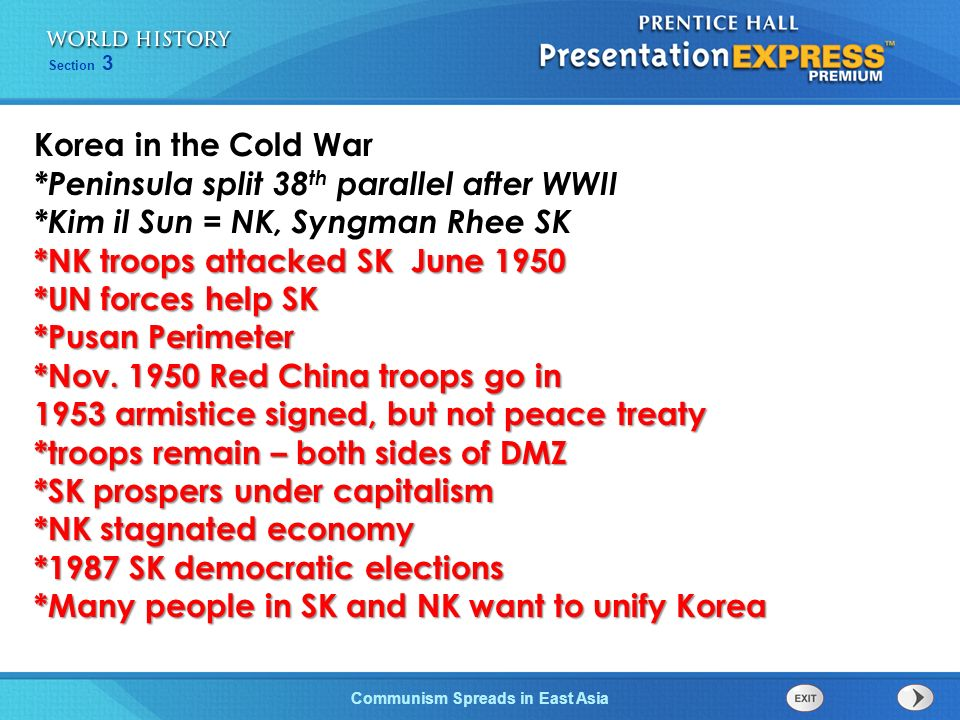 Korea in the Cold War *Peninsula split 38th parallel after WWII. *Kim il Sun = NK, Syngman Rhee SK.