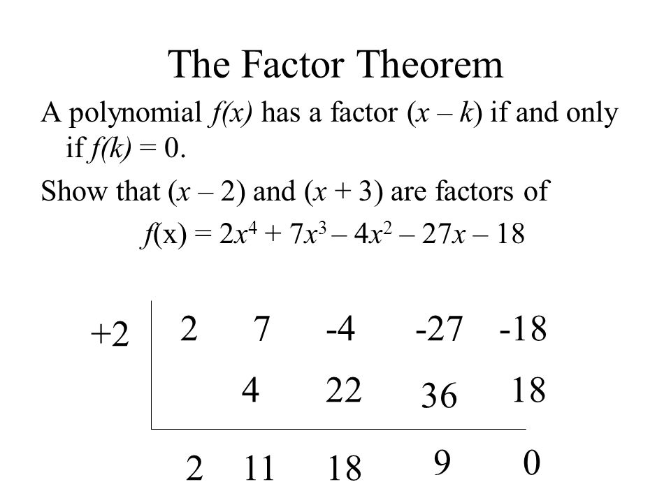 The Factor Theorem 2 7 -4 -27 -18 +2 4 22 18 36 9 2 11 18