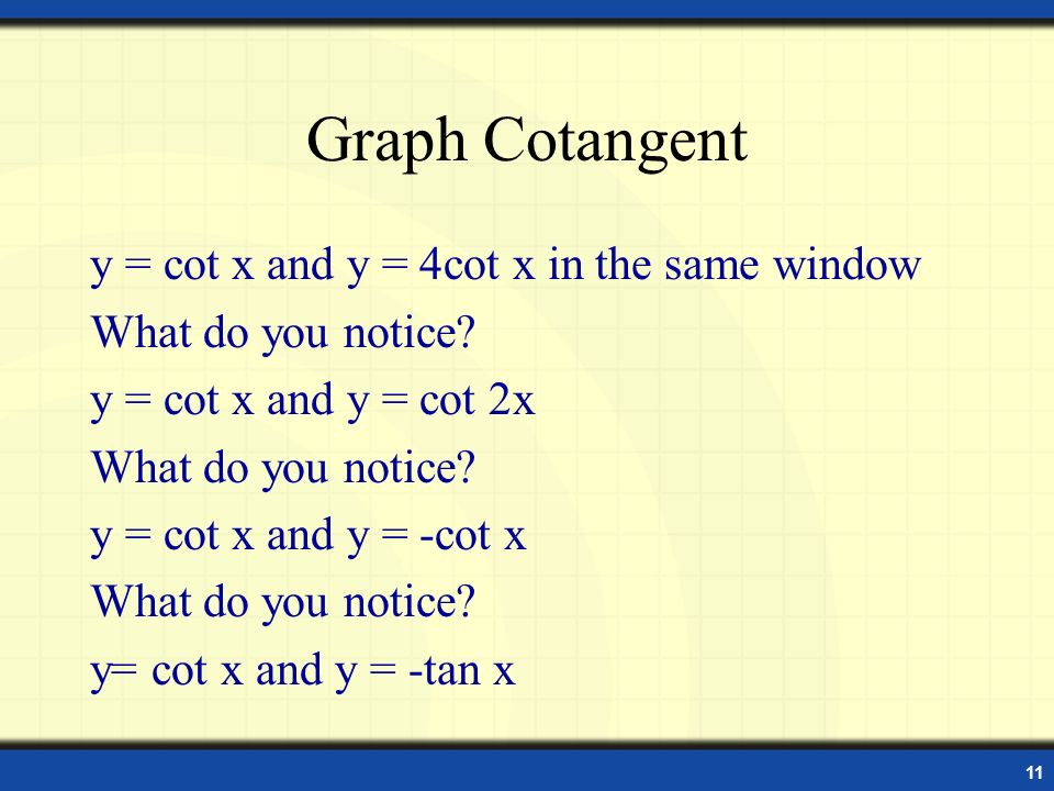 Graph Cotangent y = cot x and y = 4cot x in the same window