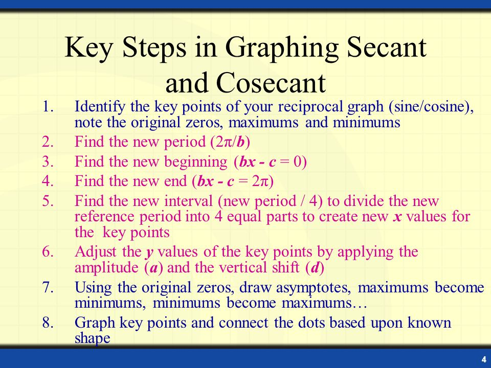 Key Steps in Graphing Secant and Cosecant