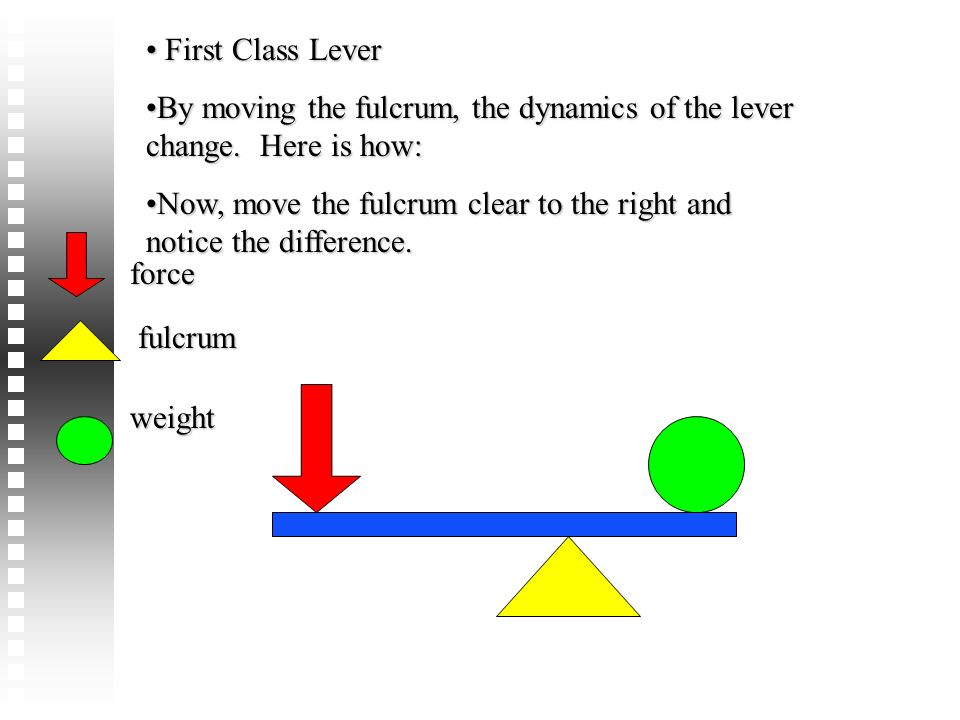 First Class Lever By moving the fulcrum, the dynamics of the lever change. Here is how: