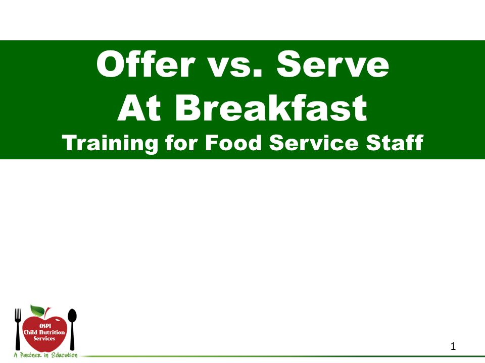 Training for Food Service Staff