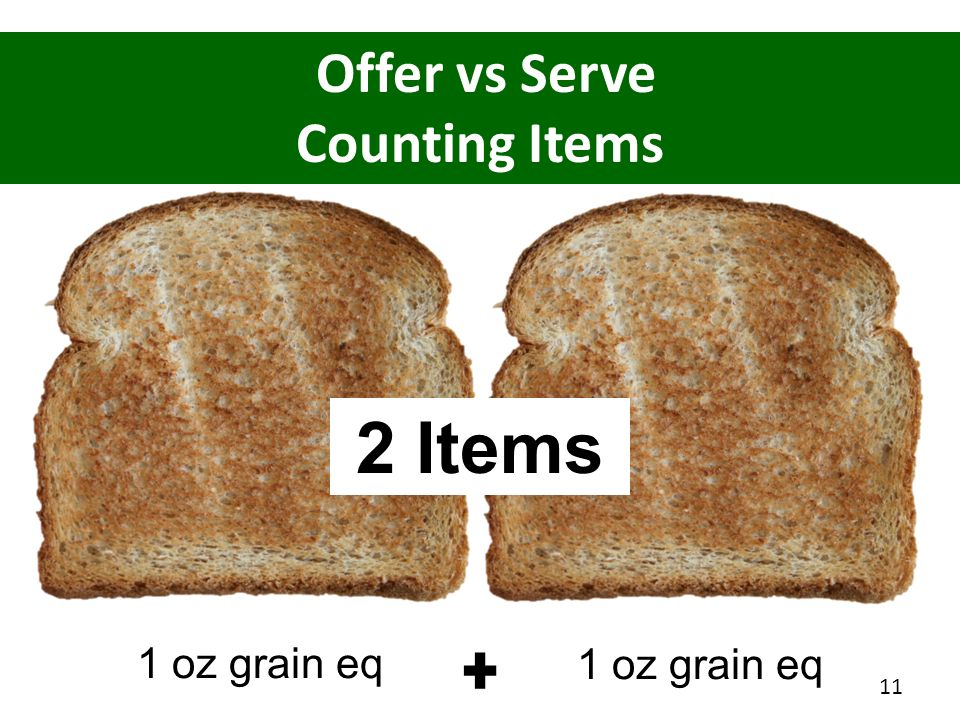 2 Items Offer vs Serve Counting Items 1 oz grain eq 1 oz grain eq