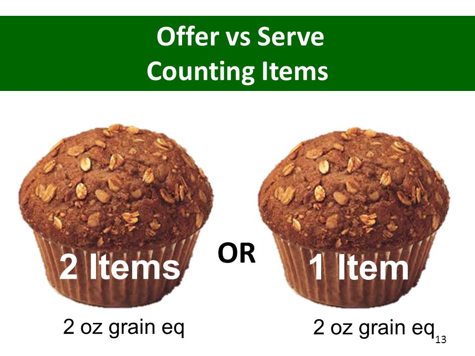 2 Items 1 Item OR Offer vs Serve Counting Items 2 oz grain eq
