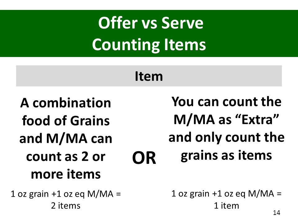 A combination food of Grains and M/MA can count as 2 or more items