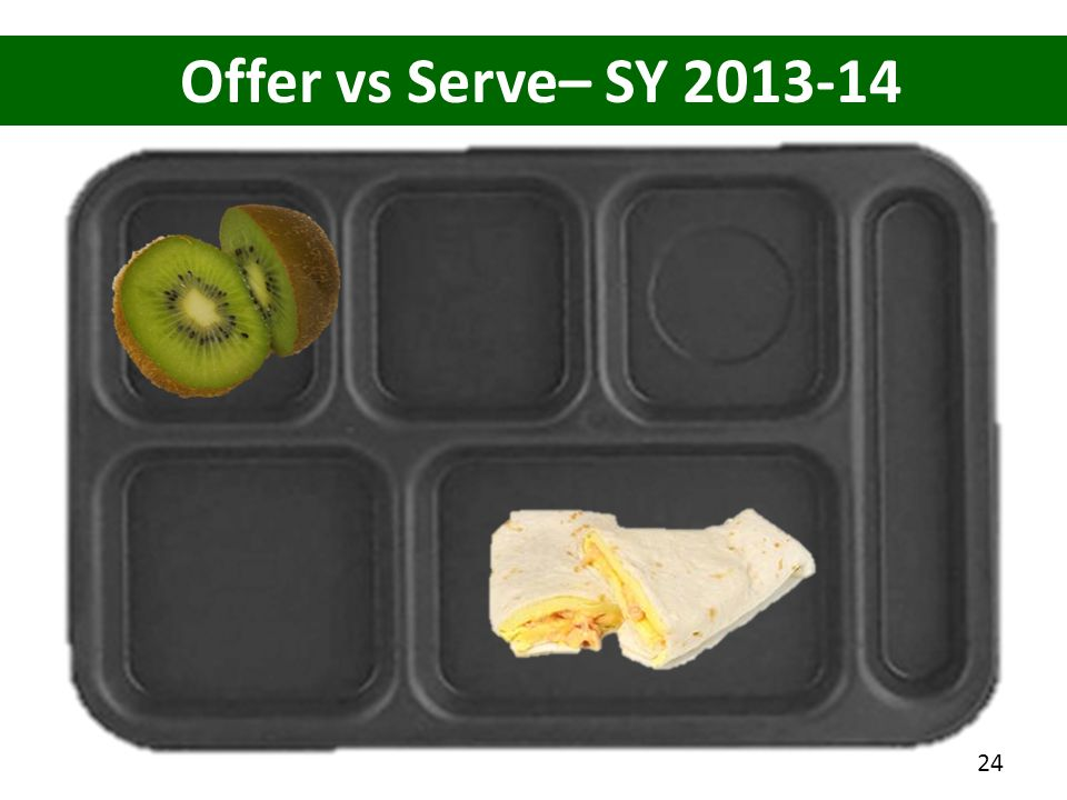 Offer vs Serve– SY 2013-14 How many items on this tray 3 items