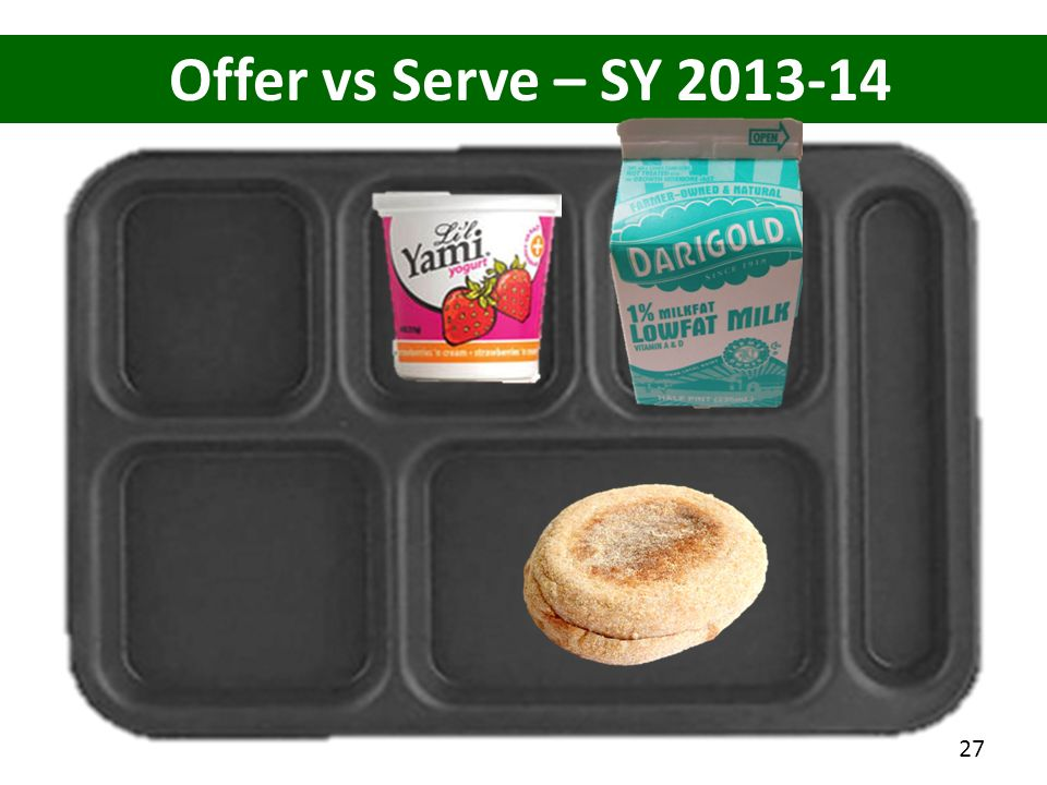 Offer vs Serve – SY 2013-14 How many items on this tray 4 items (counting the English Muffin as 2 items)