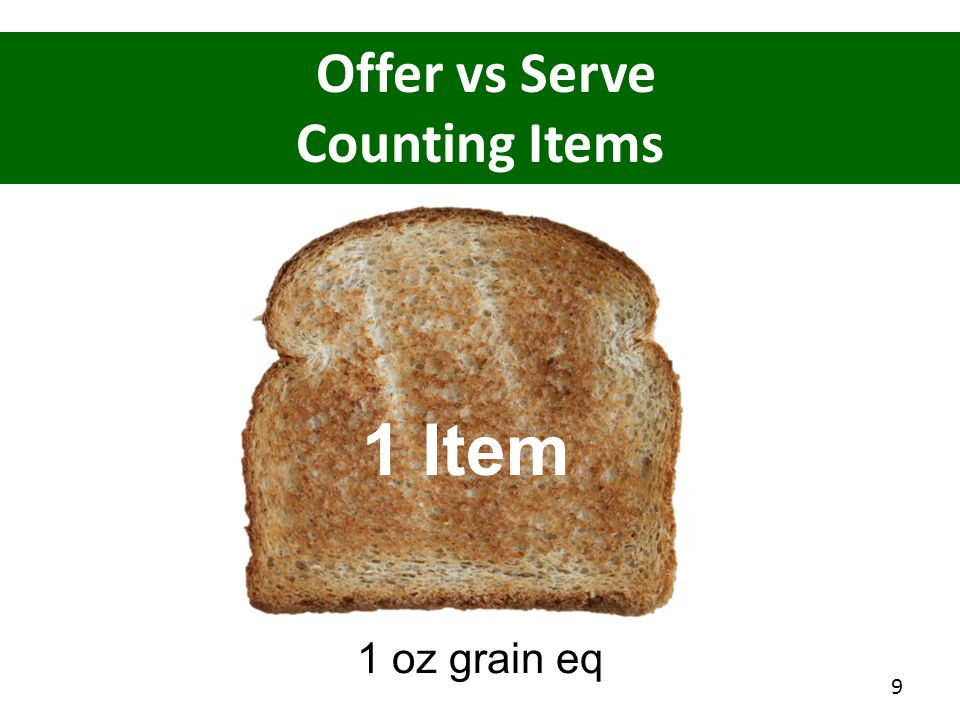 1 Item Offer vs Serve Counting Items 1 oz grain eq