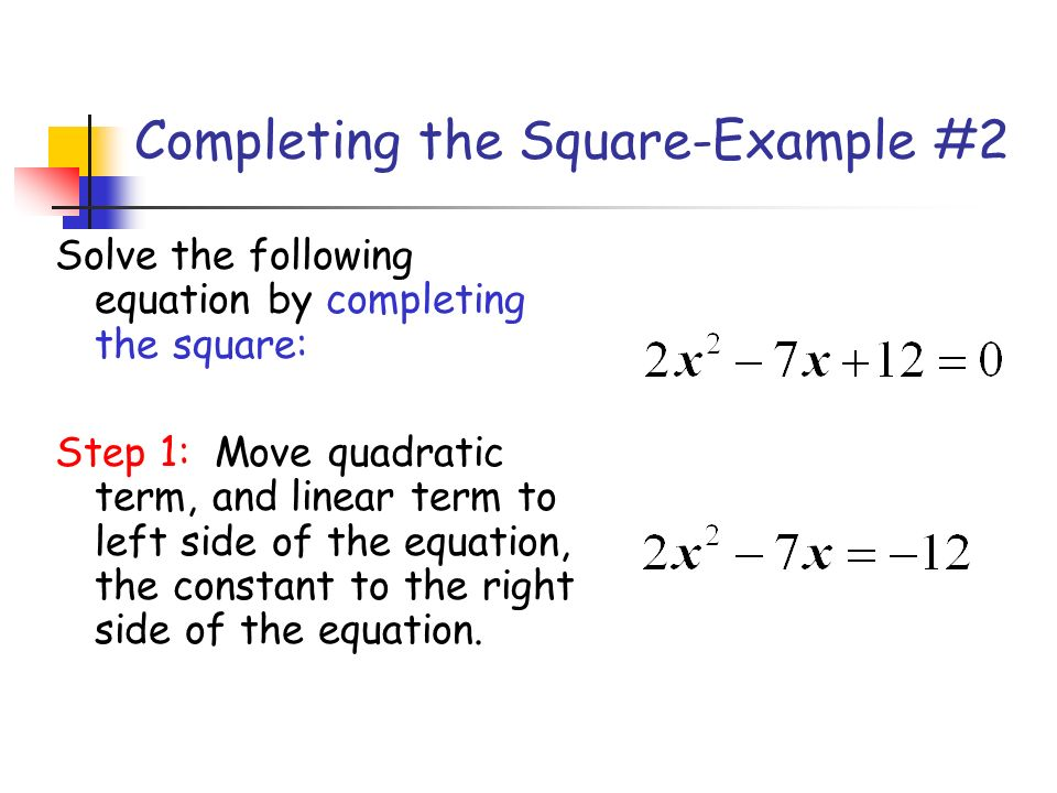 Completing the Square-Example #2