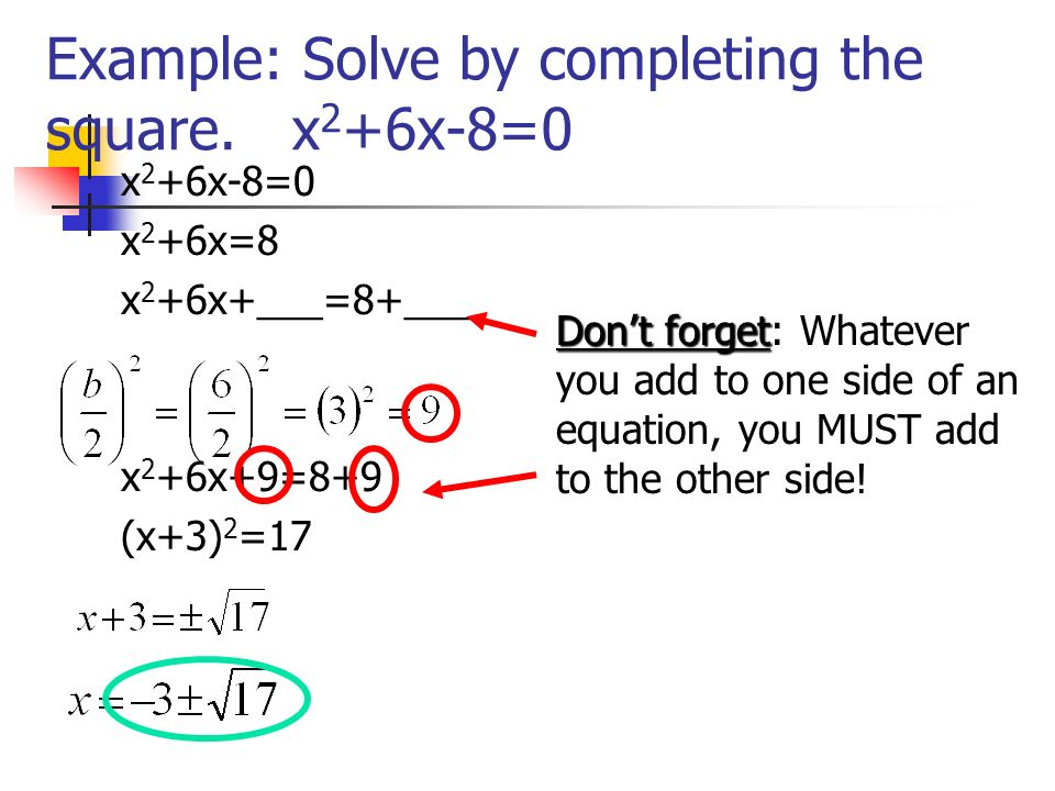Example: Solve by completing the square. x2+6x-8=0