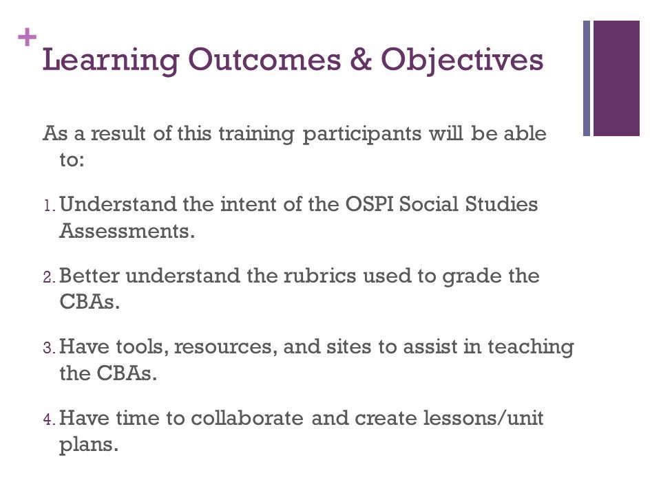 Learning Outcomes & Objectives