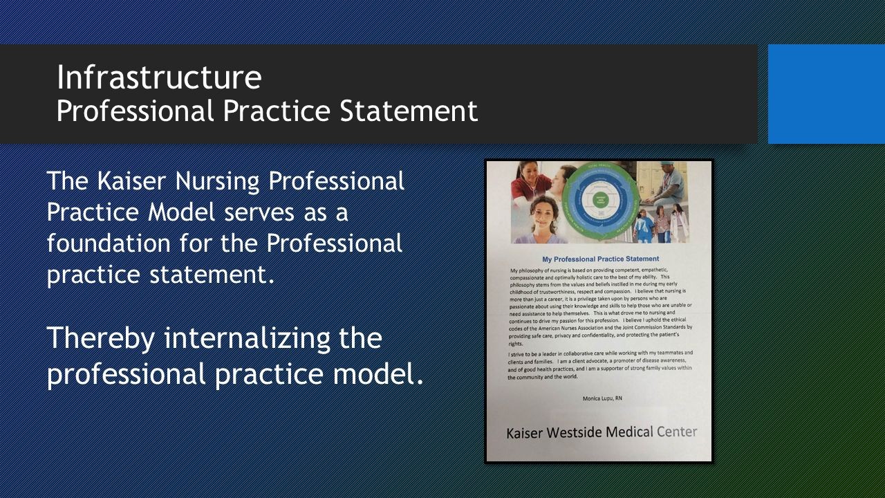 Embedding the Kaiser Permanente Vision, Values and Professional ... for Nursing Professional Practice Model  61obs