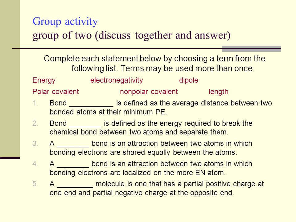 Group activity group of two (discuss together and answer)
