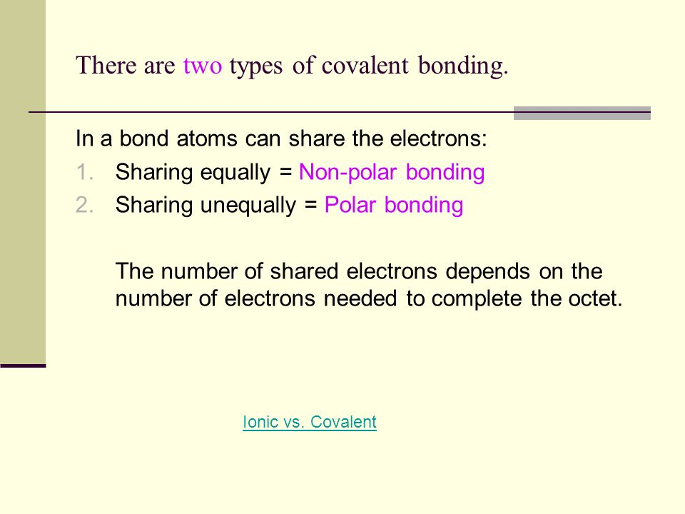 There are two types of covalent bonding.