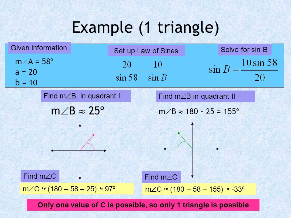 Only one value of C is possible, so only 1 triangle is possible