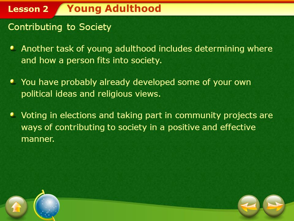 Young Adulthood Contributing to Society