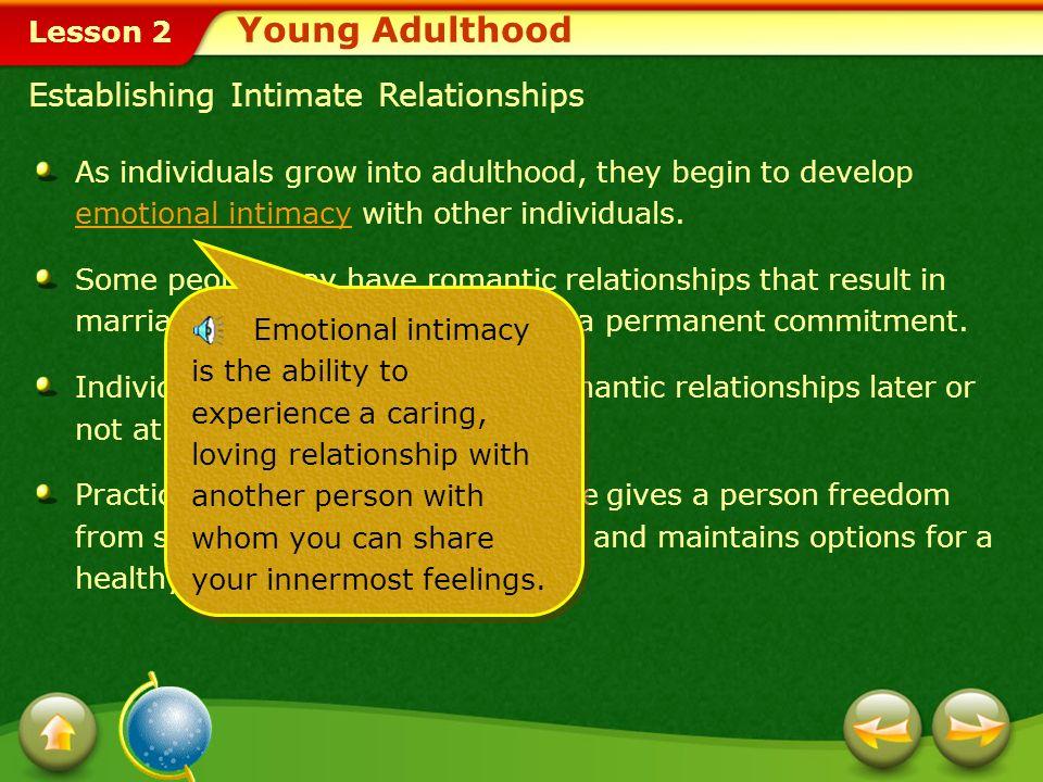 Young Adulthood Establishing Intimate Relationships