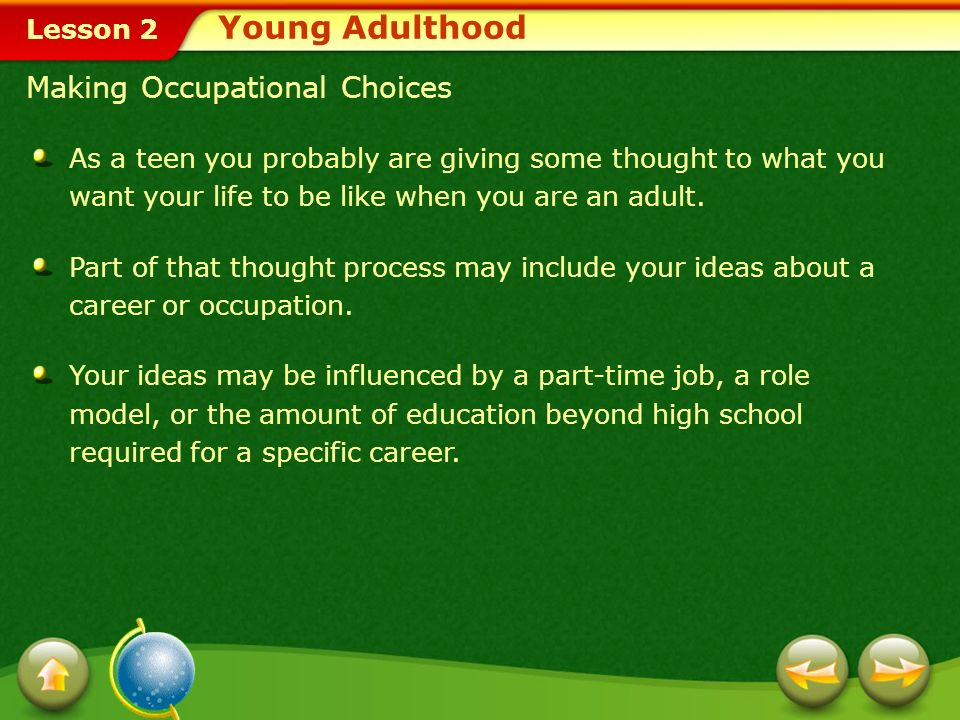 Young Adulthood Making Occupational Choices