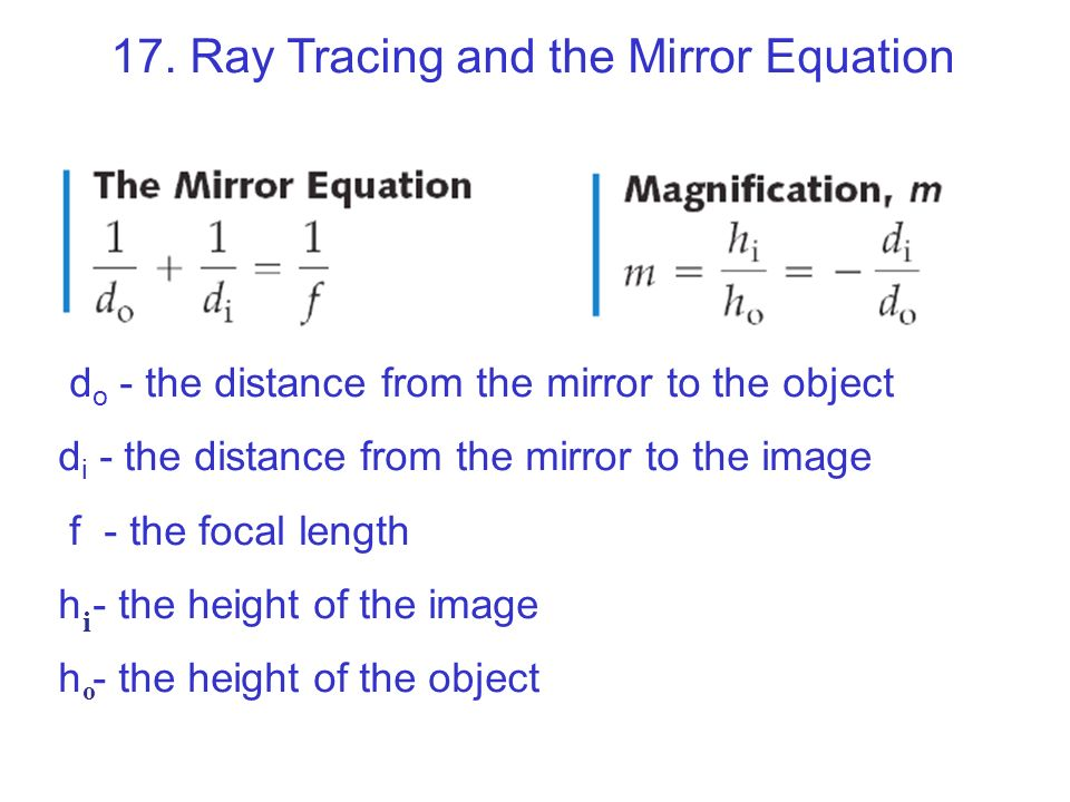 Chapter 17 geometrical optics ppt video online download for Mirror formula