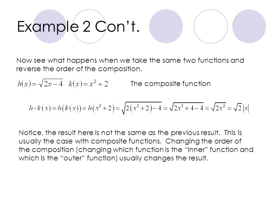 Example 2 Con't. Now see what happens when we take the same two functions and reverse the order of the composition.